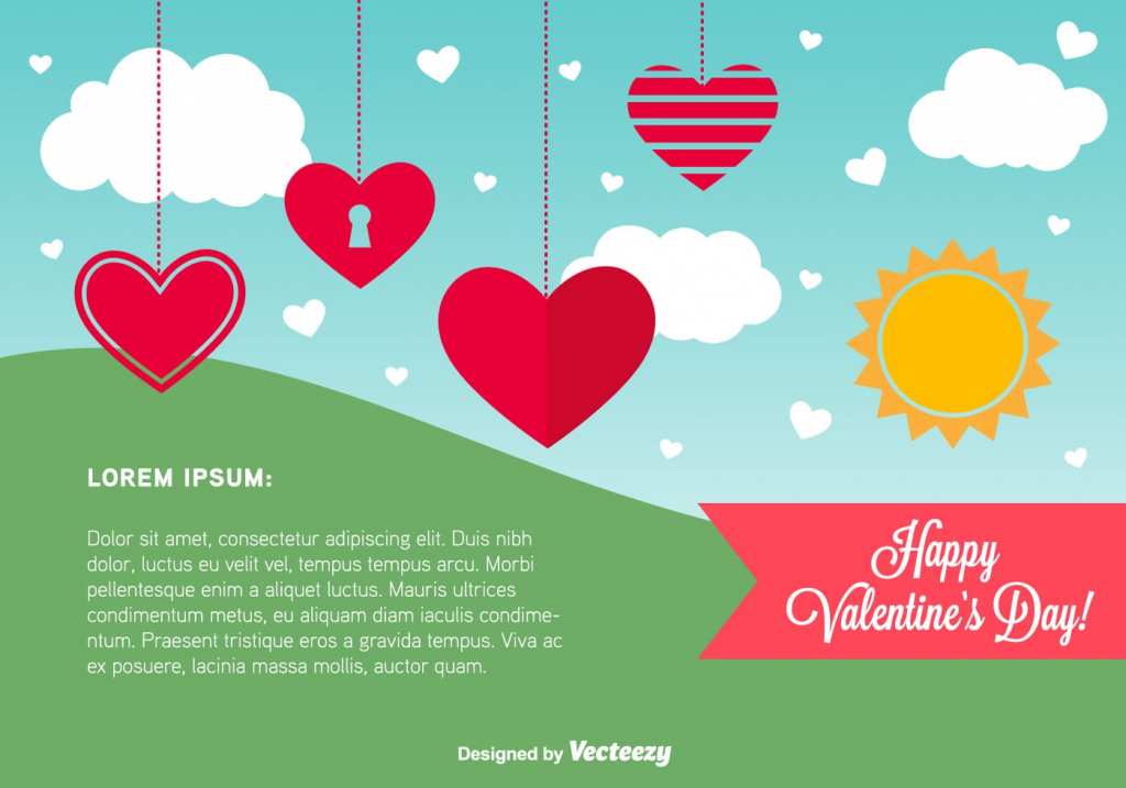 Happy Valentine's Day Card Template - Download Free Vector Art   Valentine's Day Card Printable Templates