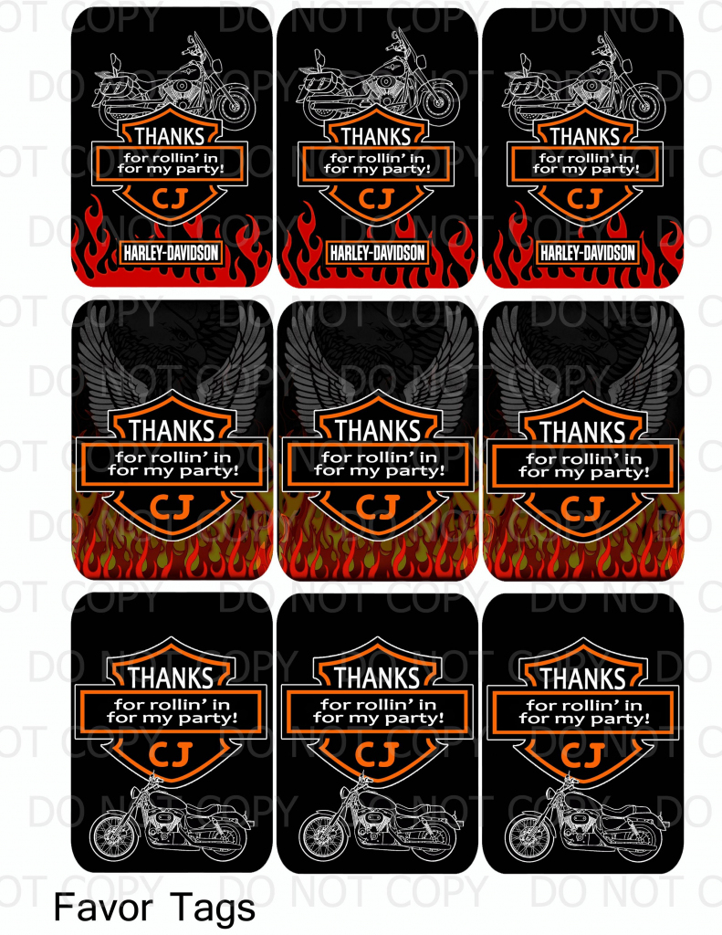 Harley Davidson Birthday Party Favor Tags   Harley Davidson   Harley Davidson Cards Printable