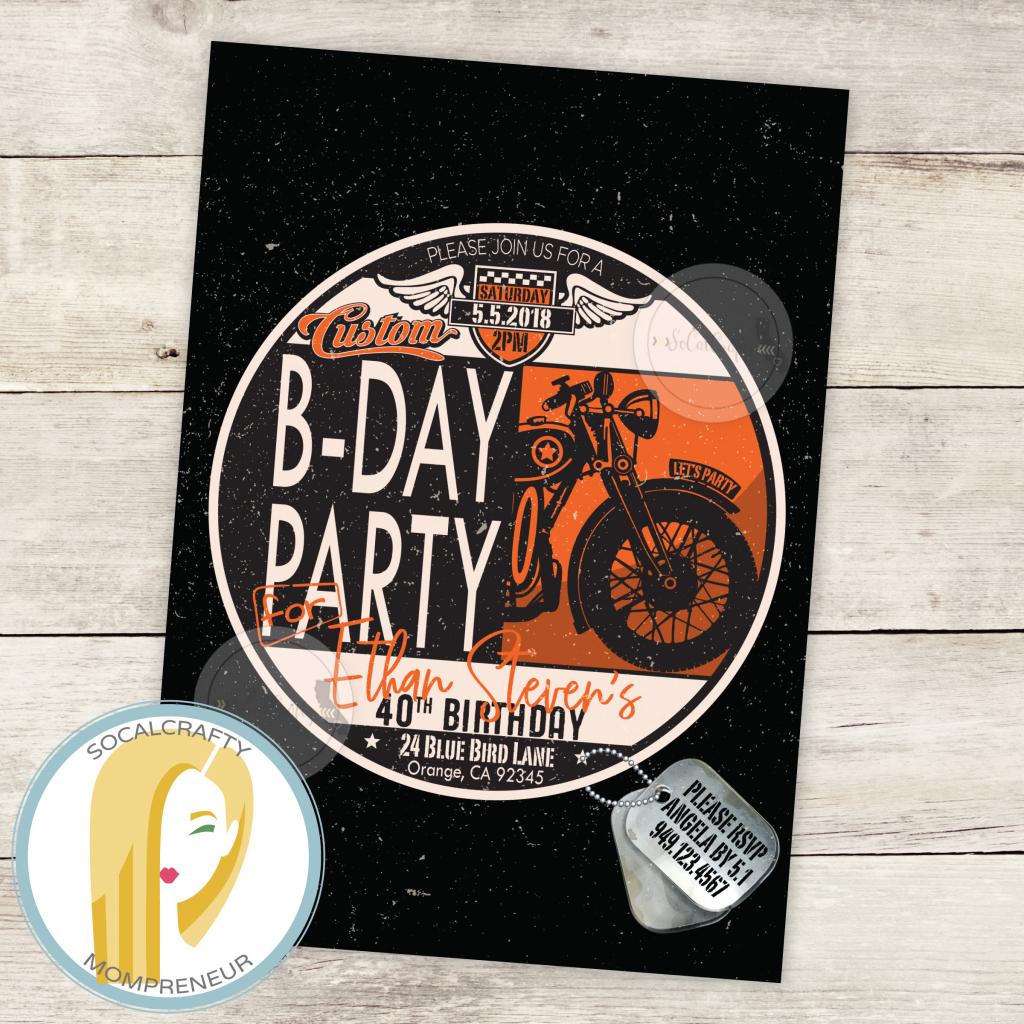 Harley Davidson Birthday Party Invitation Motorcycle   Etsy   Harley Davidson Cards Printable