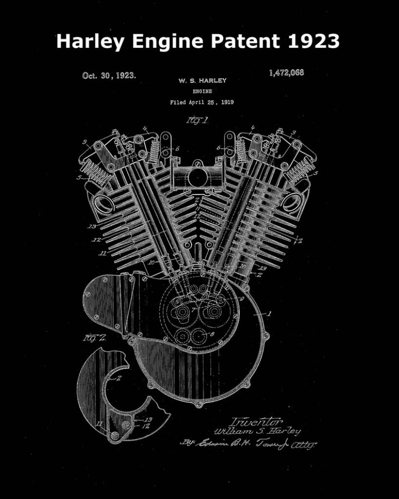 Harley Engine Patent 1923-Harley Davidson Print-Motorbike | Etsy | Printable Harley Davidson Gift Cards