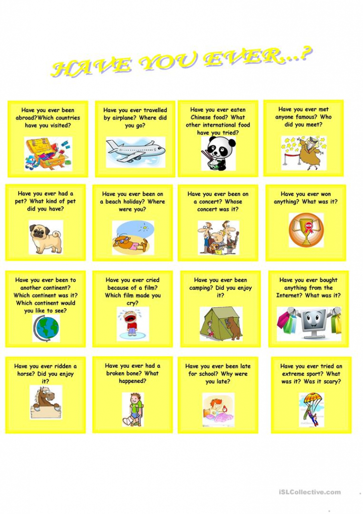 Have You Ever? (Speaking Cards) Worksheet - Free Esl Printable | Printable Conversation Cards For Adults