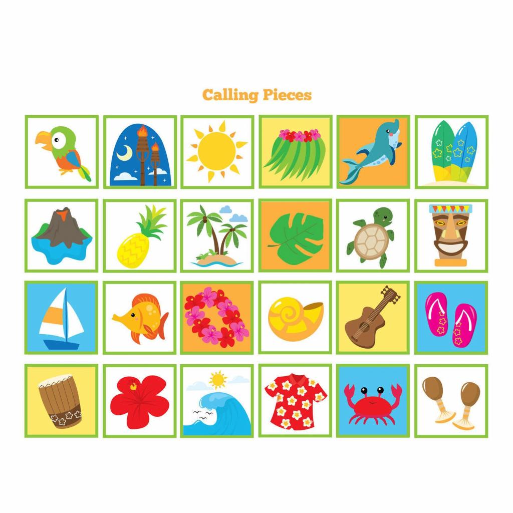 Hawaiian Bingo Game - Kid's Printable Bingo Game - Bingo Game For | Printable Hawaiian Bingo Cards