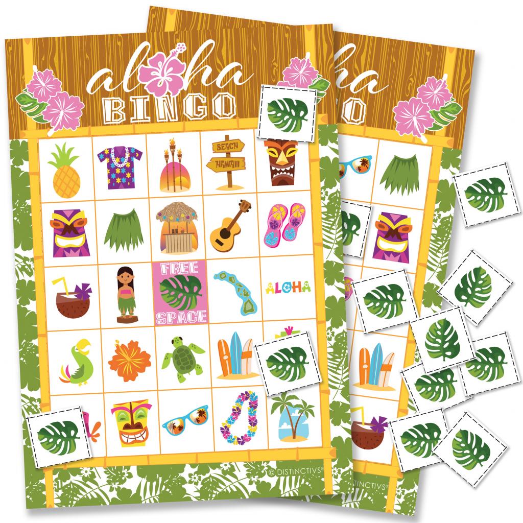 Hawaiian Luau Party Bingo Game 24 Players - Tropical Tiki Luau | Printable Hawaiian Bingo Cards
