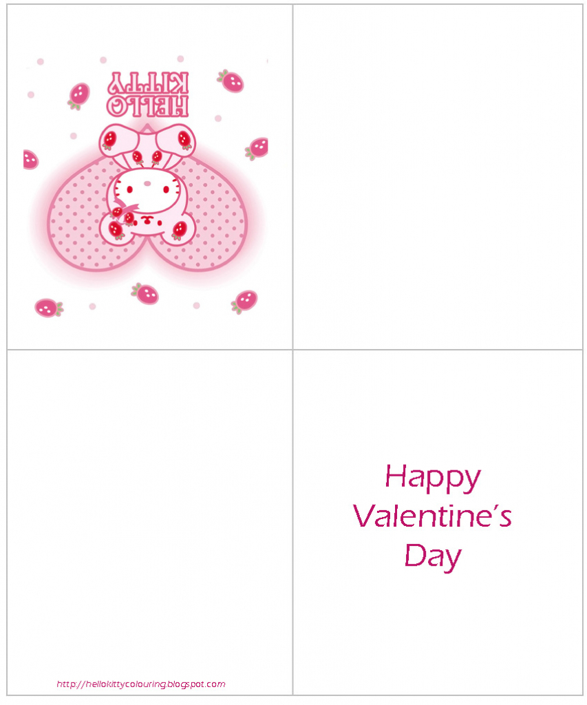Hello Kitty Coloring Pages | Hello Kitty Valentines Day Cards Printable