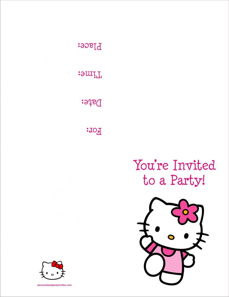Hello Kitty Free Printable Birthday Party Invitation Personalized | Hello Kitty Birthday Card Printable Free