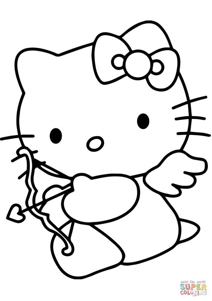 Hello Kitty Valentine's Day Cupid Coloring Page | Free Printable | Hello Kitty Valentines Day Cards Printable