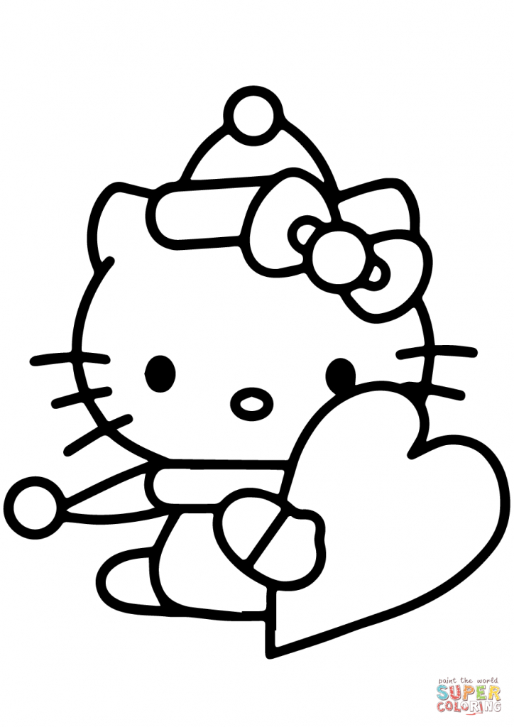Hello Kitty With Valentine's Day Heart Coloring Page | Free | Hello Kitty Valentines Day Cards Printable