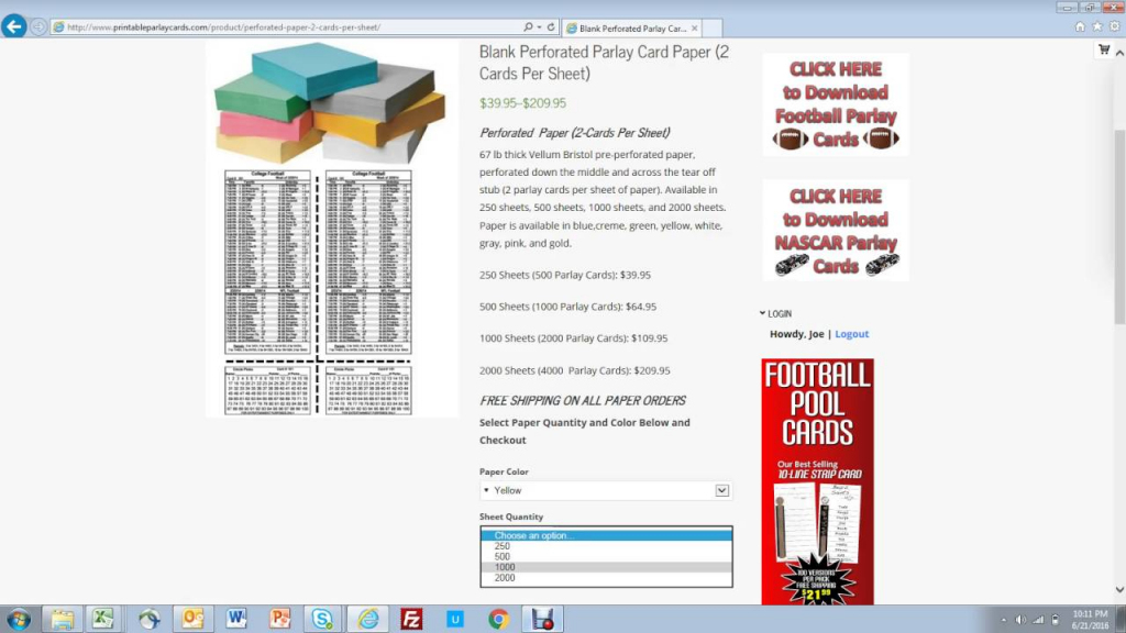 How To Buy Perforated Paper For Parlay Cards - Youtube | Football Parlay Cards Printable
