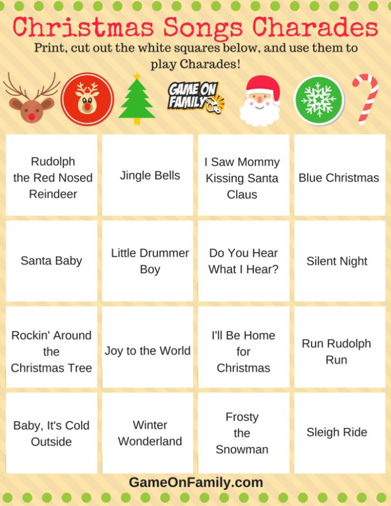 How To Play Christmas Charades: Free Printable Games!   Game On Family   Free Printable Christmas Charades Cards