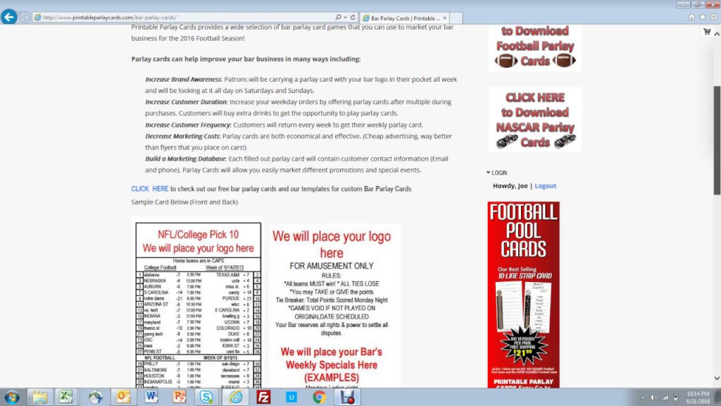 How To Use Bar Parlay Cards To Promote Your Bar - Youtube | Free Printable Football Parlay Cards