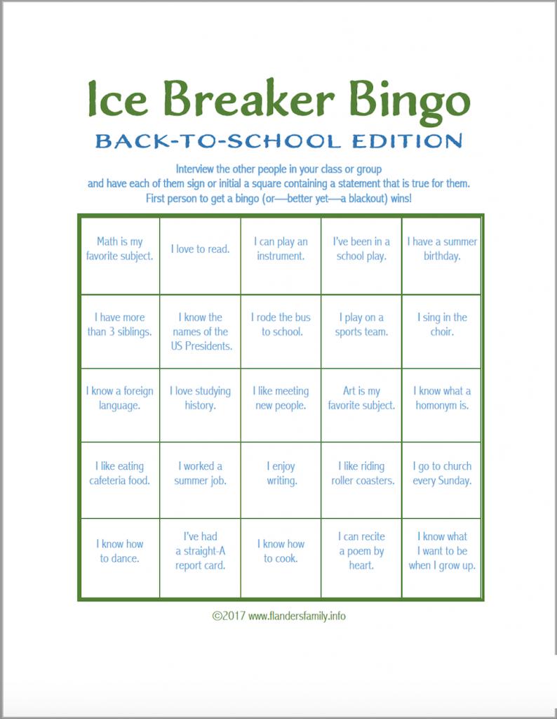 Ice Breaker Bingo: Back-To-School Version - Flanders Family Homelife | Printable Icebreaker Bingo Cards