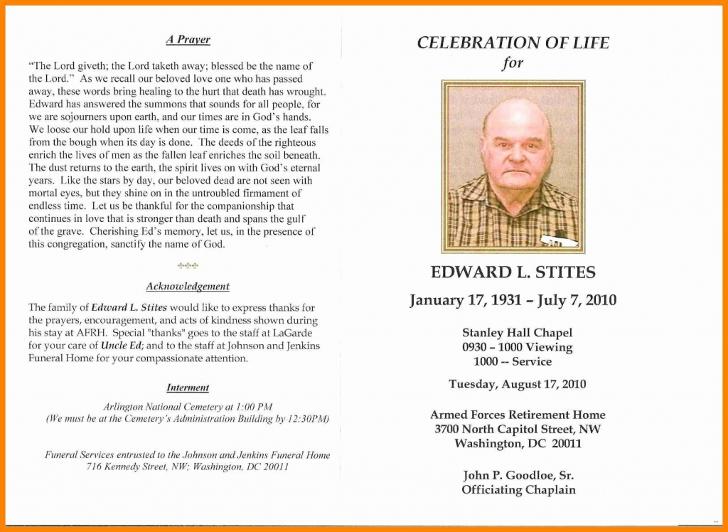 In Memoriam Cards Template Free Celebration Of Life Program | Free Printable Memorial Card Template