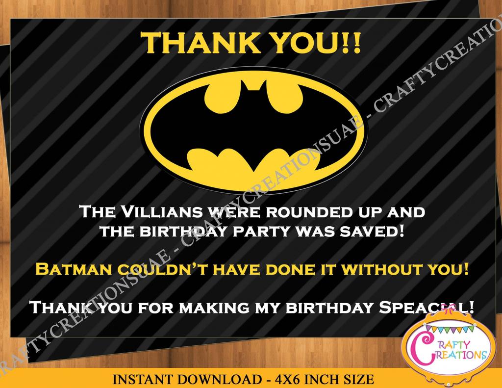 Instant Download- Batman Thank You Card - Superheros Thank You Card | Batman Thank You Cards Printable
