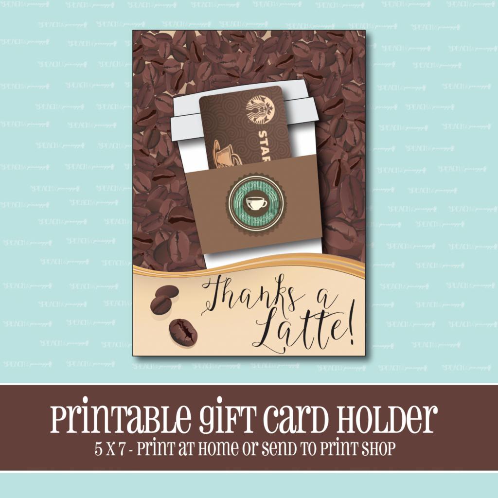Instant Download Starbucks Gift Card Holder Thanks A Latte | Etsy | Printable Starbucks Gift Card