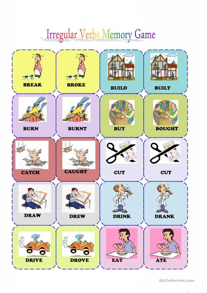 Irregular Verbs Memory Card Game( 1/3) Worksheet - Free Esl | Esl Card Games Printable