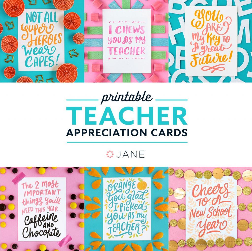 Jane Free Teacher Appreciation Printable Cards   Teacher   Teachers Day Card Printable