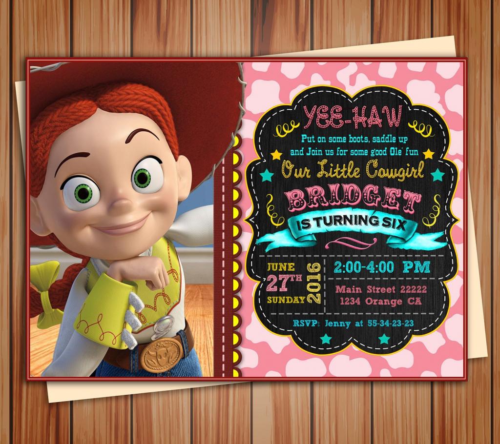 Jessie Cowgirl Toy Story Birthday Photo Invitation Chalkboard   Etsy   Toy Story Birthday Card Printable Free