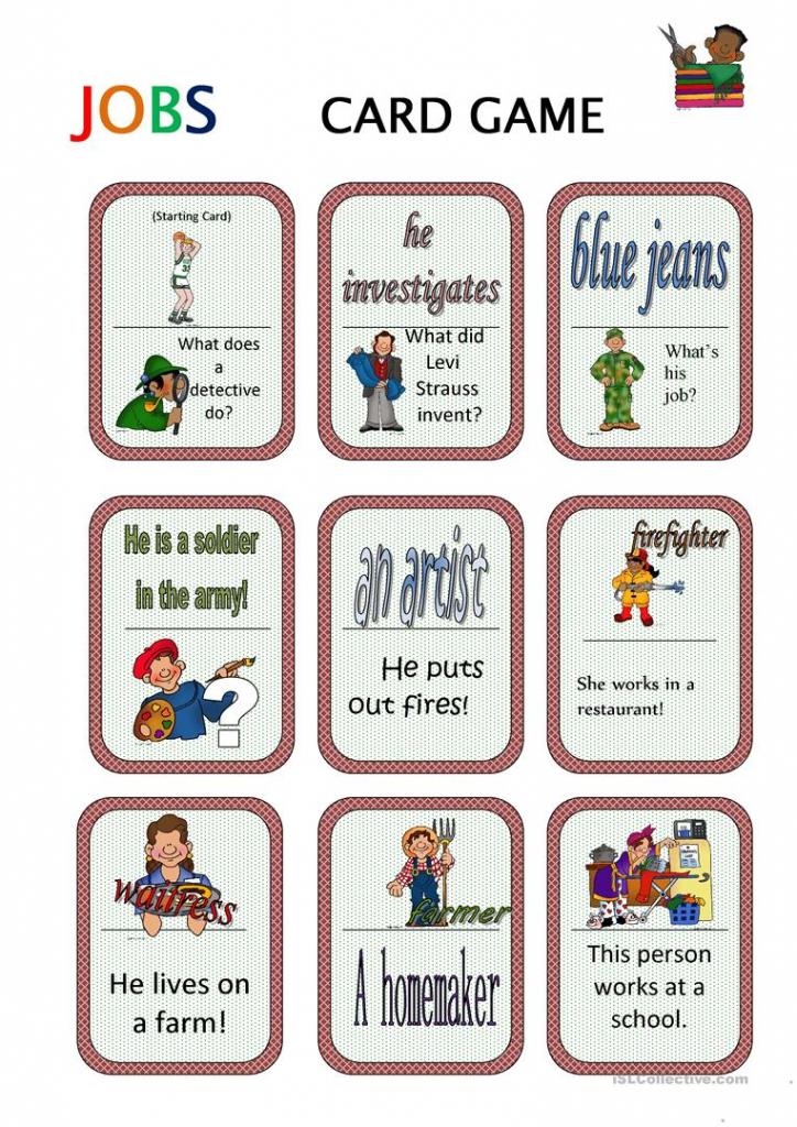 Jobs Card Game Worksheet - Free Esl Printable Worksheets Made | Esl Card Games Printable