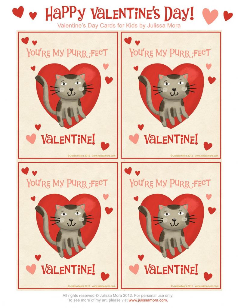 Kids Cat Valentines | Julissa Mora: Free Valentine's Day Cards For | Free Printable Cat Valentine Cards