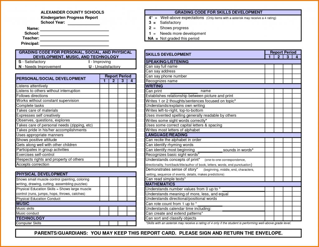 Kindergarten Report Card Template | Word Power | Kindergarten Report | Free Printable Kindergarten Report Cards