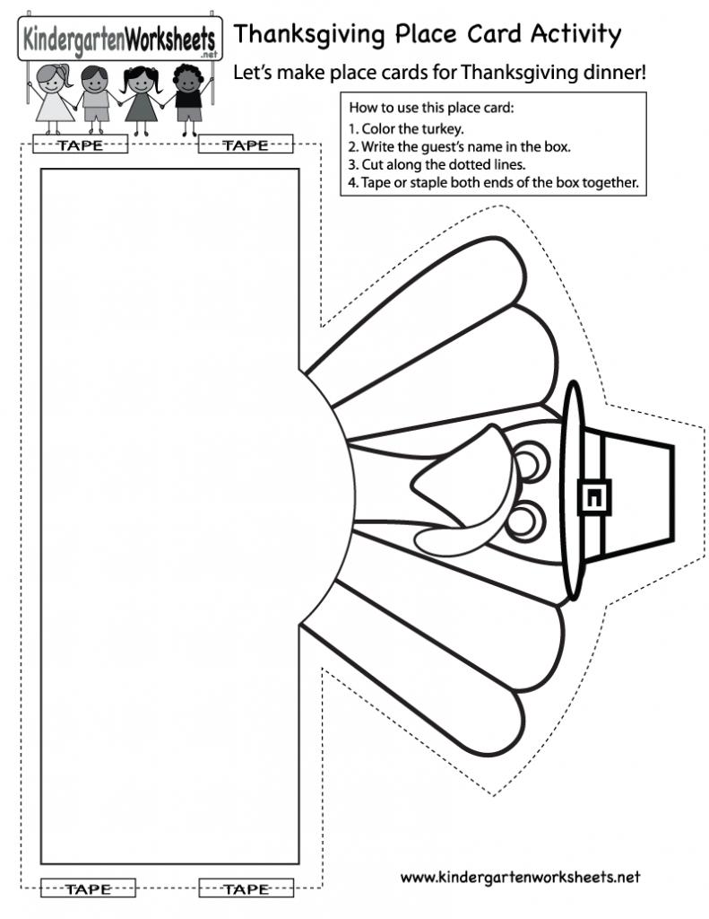 Kindergarten Thanksgiving Place Card Activity Worksheet Printable | Printable Thanksgiving Place Cards For Kids