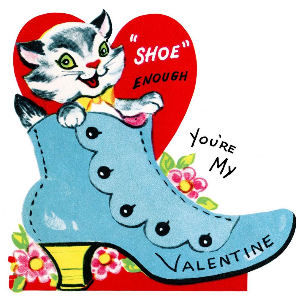 Kitten In Shoe Valentine, Vintage Valentine Clip Art, Retro | Printable Old Fashioned Valentine Cards