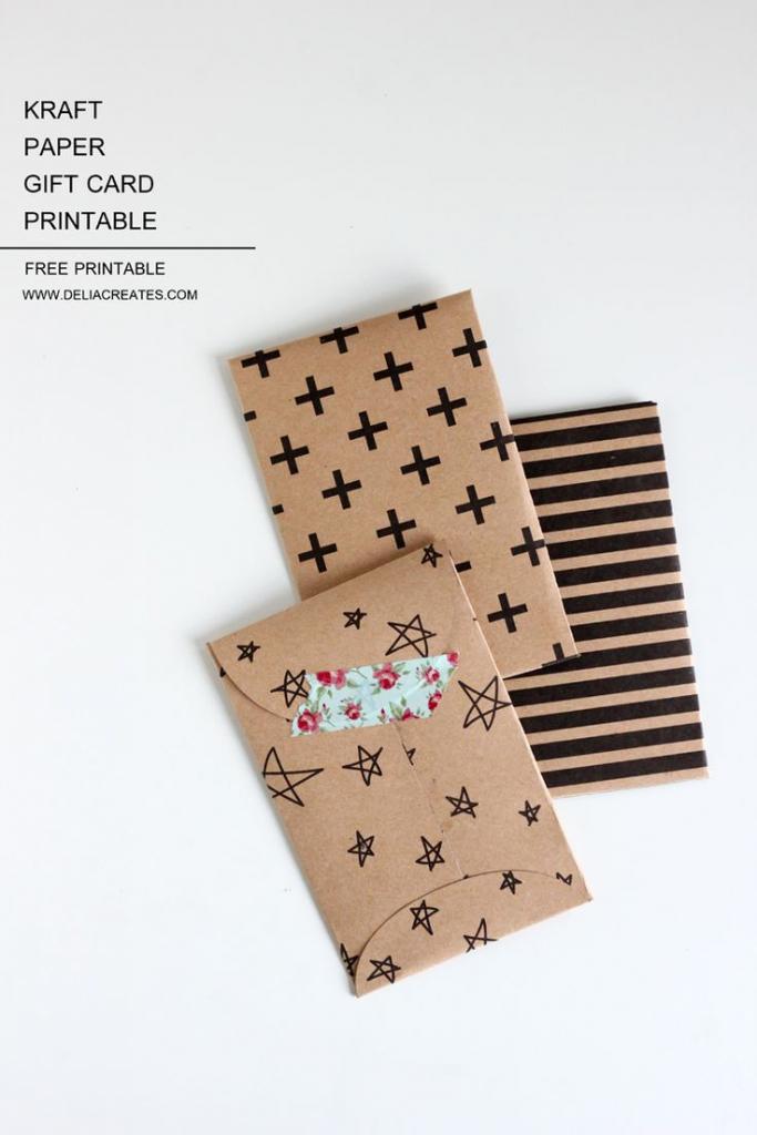 Kraft Paper Gift Card Envelope Free Printable   Diy: Gift Wrapping   Gift Card Printable Envelope