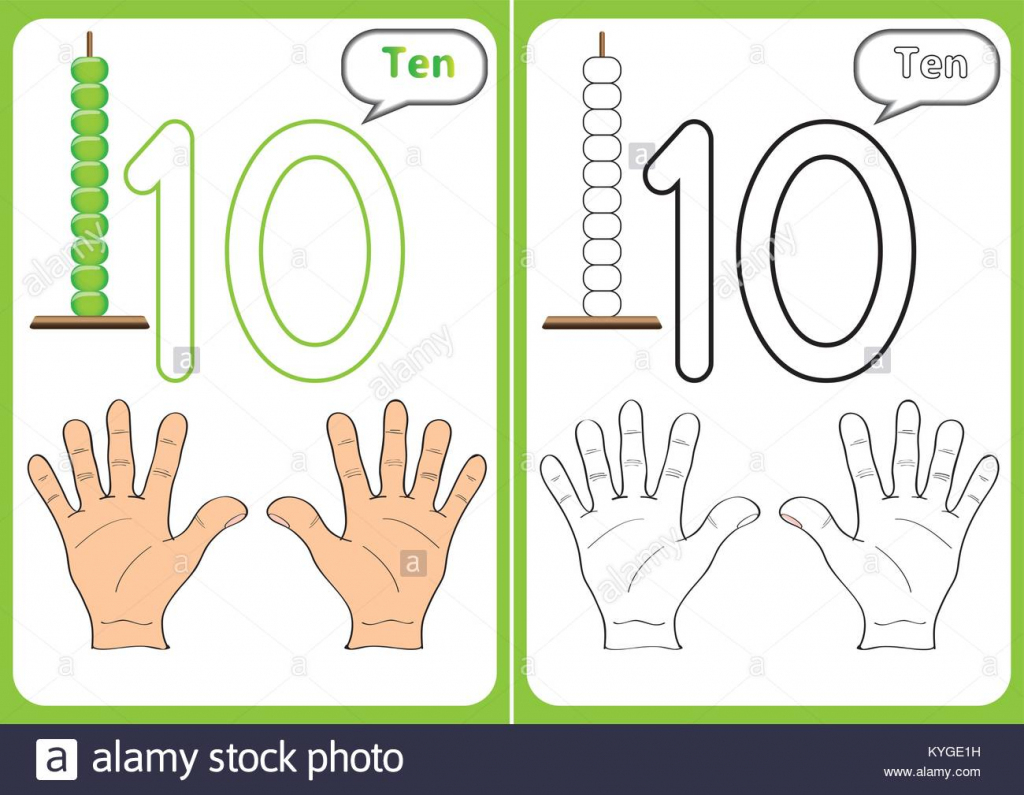 Learning The Numbers 0-10, Flash Cards, Educational Preschool Stock   Printable Abacus Flash Cards
