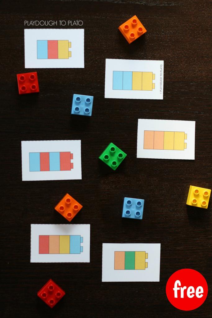 Lego Pattern Cards | Playdough To Plato | Lego Math, Preschool Math | Popsicle Stick Pattern Cards Printable