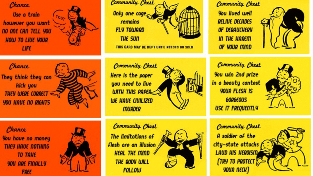 Let Madness Into Monopoly With Alternate Chance And Community Chest | Monopoly Chance And Community Chest Cards Printable