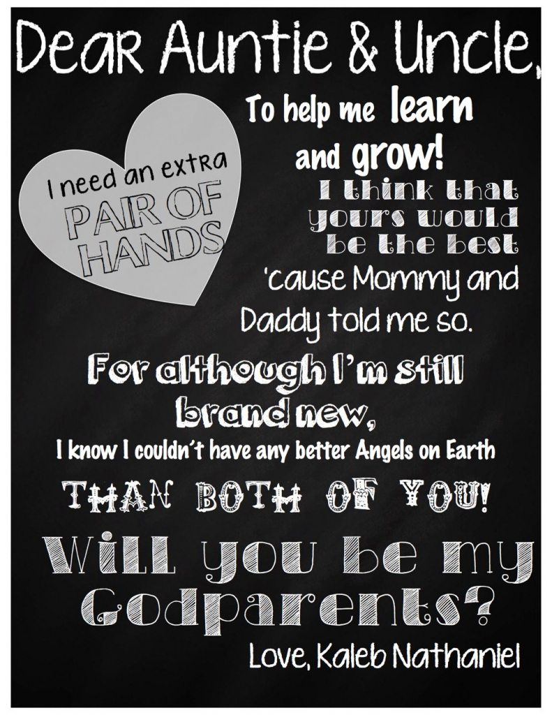 Letter For Godparents, Baptism, Request, Will You Be My Godparents   Will You Be My Godfather Printable Card