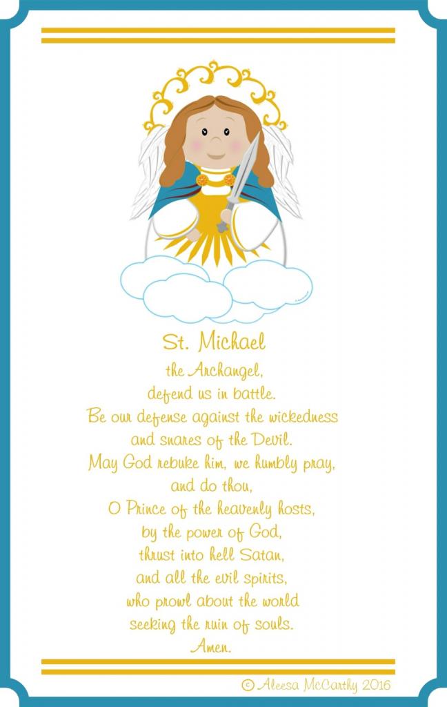 Life, Love, & Sacred Art: St. Micheal The Arch Angel Free Printable   St Michael Prayer Card Printable