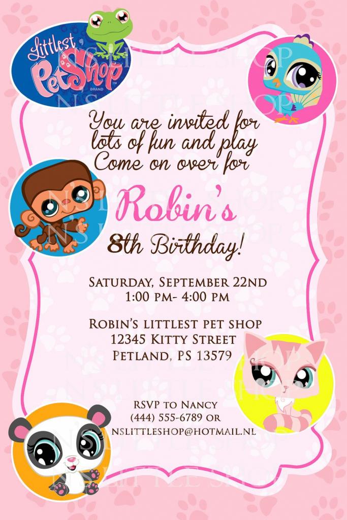 Littlest Pet Shop Inspired Birthday Invitation Card / Customize | 9Th Birthday Cards Printable