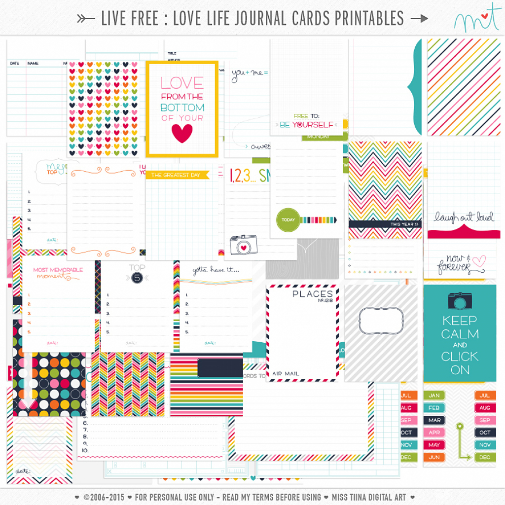 Live Free : Love Life » 73 Free Printable Journal Cards | Misstiina | Free Printable Personal Cards