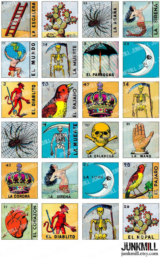 Loteria - Collage Sheet - Vintage Loteria Cards, Mexican Bingo, Day | Printable Loteria Game Cards
