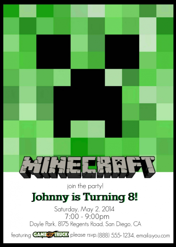 Make Your Own Custom Printable Minecraft Party Invitations   Minecraft Birthday Card Printable