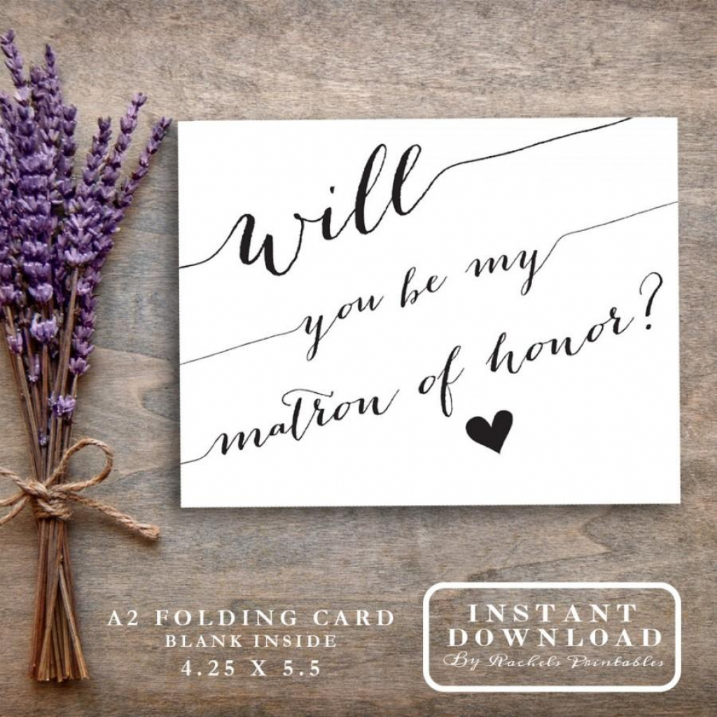 """Matron Of Honor Card Printable """"will You Be My Matron Of Honor?"""" Ask 