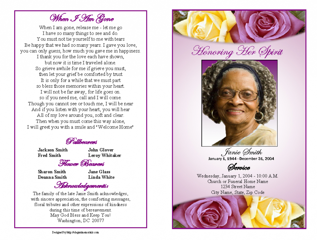 Memorial Service Programs Sample | Choose From A Variety Of Cover | Free Printable Memorial Card Template