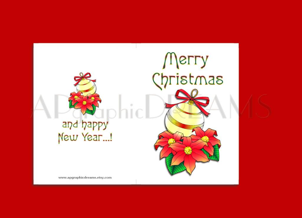 Merry Christmas Cards. Printable Folded Xmas Cards. Holiday | Etsy | Merry Christmas Cards Printable