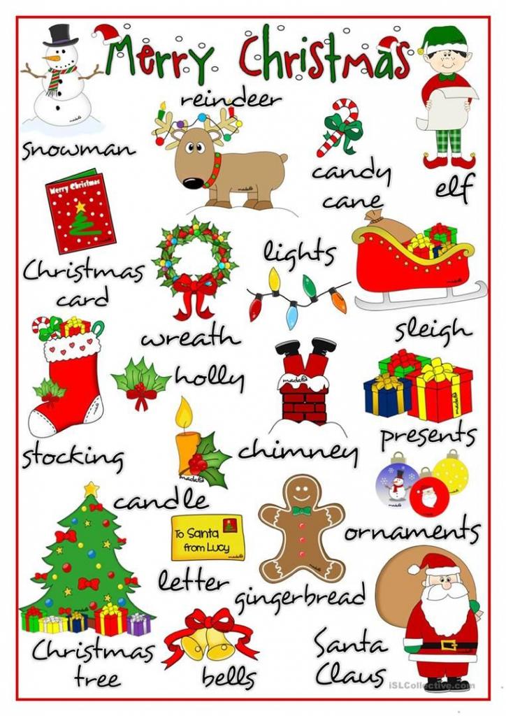 Merry Christmas - Pictionary Worksheet - Free Esl Printable   Free Printable Christmas Pictionary Cards