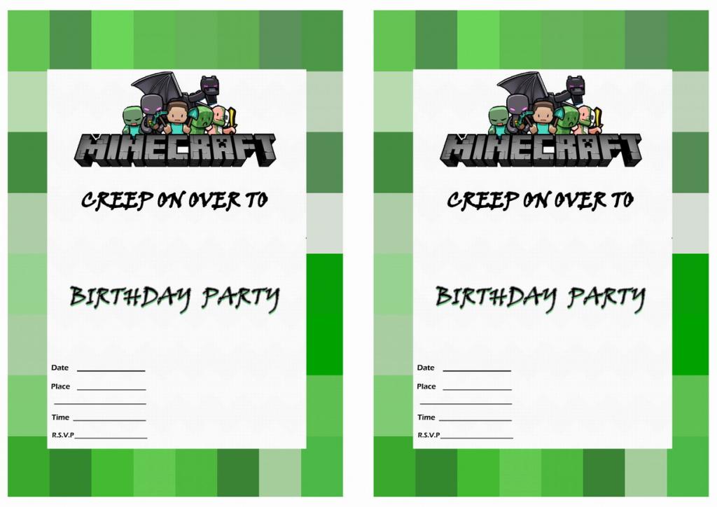 Minecraft Birthday Invitations   Birthday Printable   Minecraft Birthday Card Printable