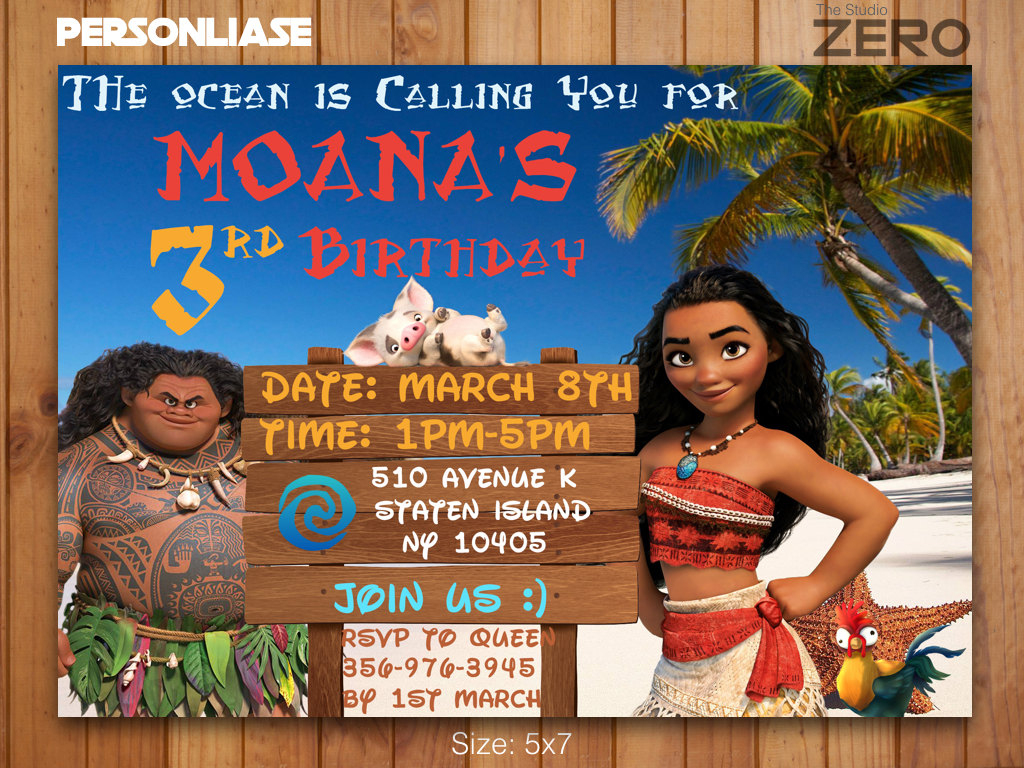 Moana Bday Invite Moana Birthday Invitation Print At Home | Etsy | Moana Birthday Card Printable