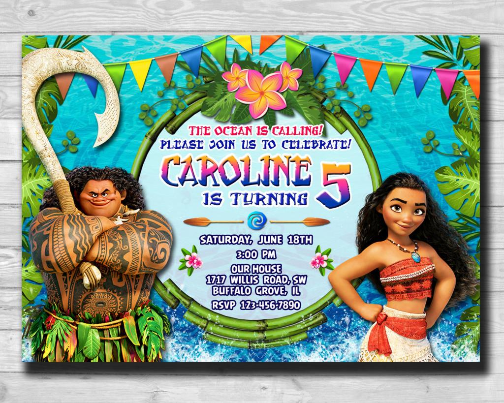 Moana-Moana Invitation-Moana Party-Moana Birthday Card-Moana | Etsy | Moana Birthday Card Printable