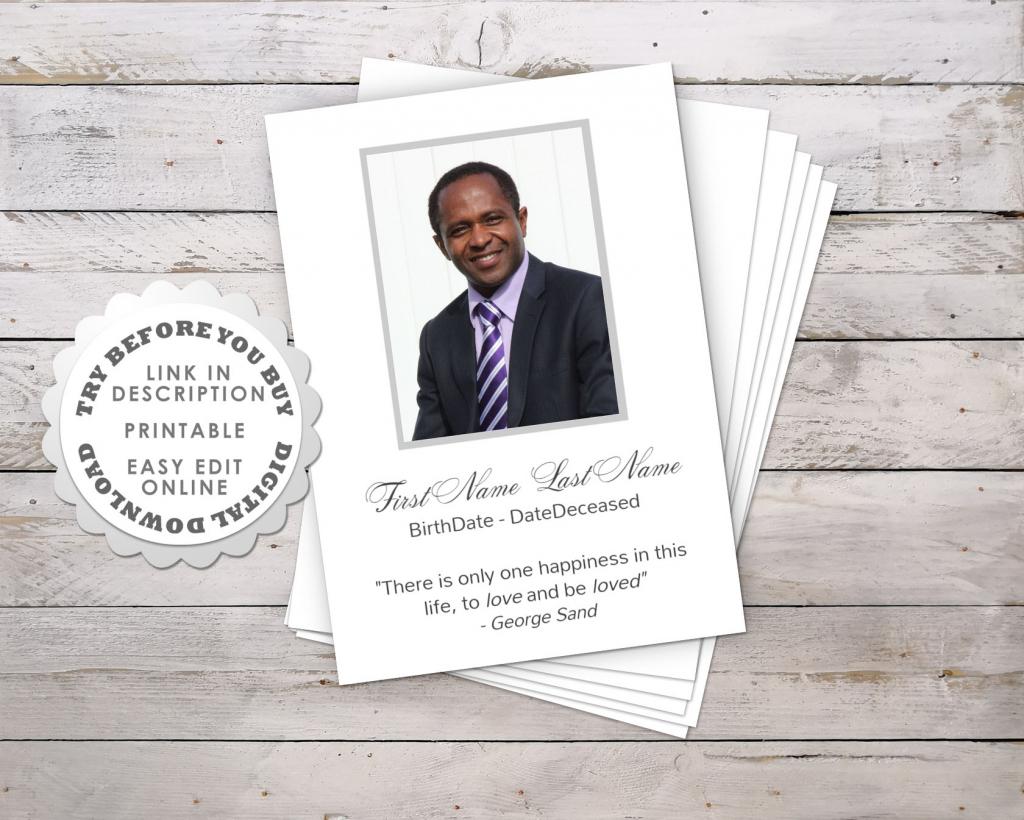 Modern Funeral Prayer Card Template • Funeral Potatoes   Free Printable Funeral Prayer Card Template