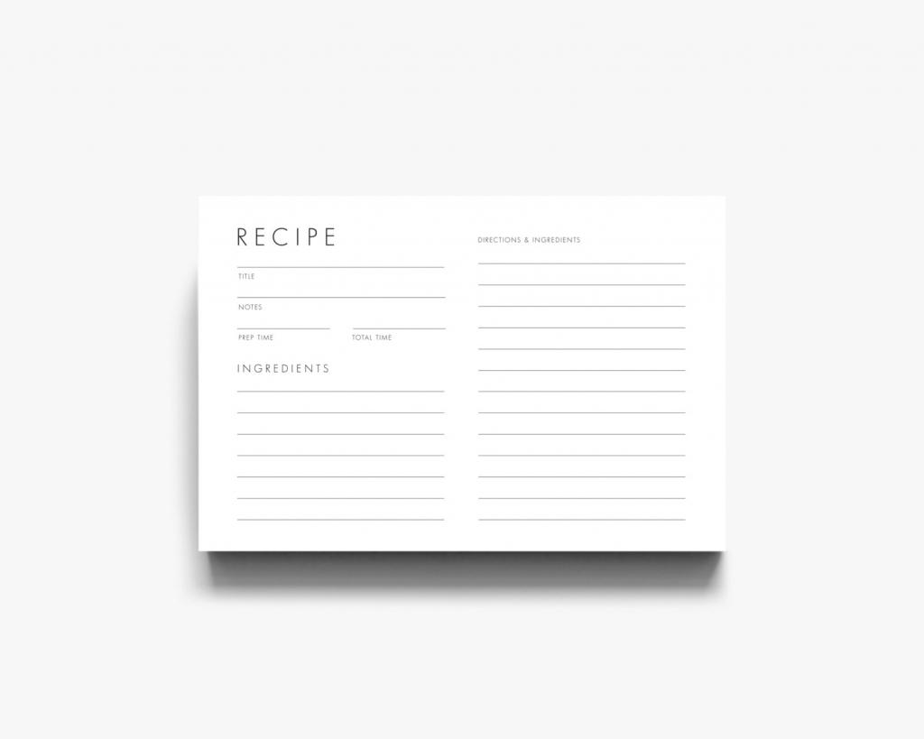 Modern Recipe Card Downloadable Recipe Card Printable Recipe   Etsy   Printable Recipe Card Template