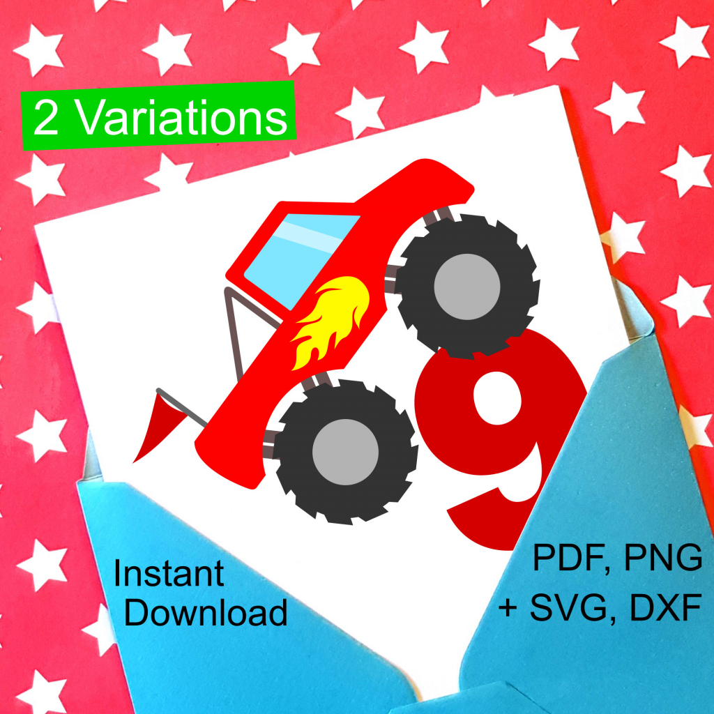 Monster Truck 9Th Birthday Svg And Printable Clipart To Make A 9Th | 9Th Birthday Cards Printable