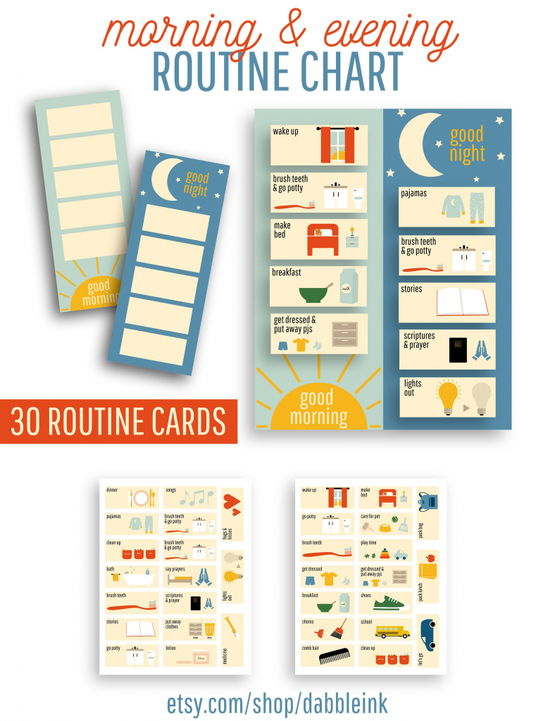 Morning And Evening Routine Chart I Visual Routine Cards I | Etsy | Printable Routine Cards For Toddlers