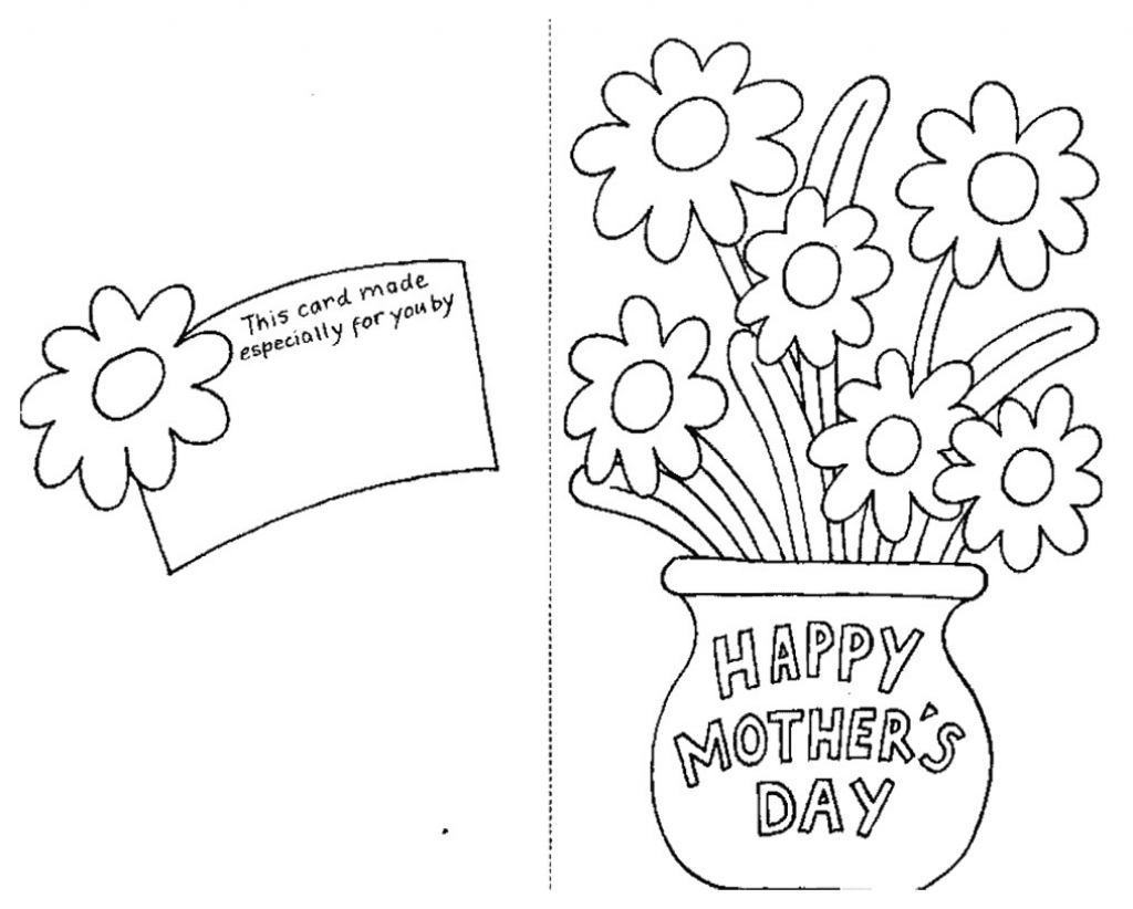 Mothers Day Coloring Pages Card And Flowers - Coloringstar | Free Printable Mothers Day Coloring Cards