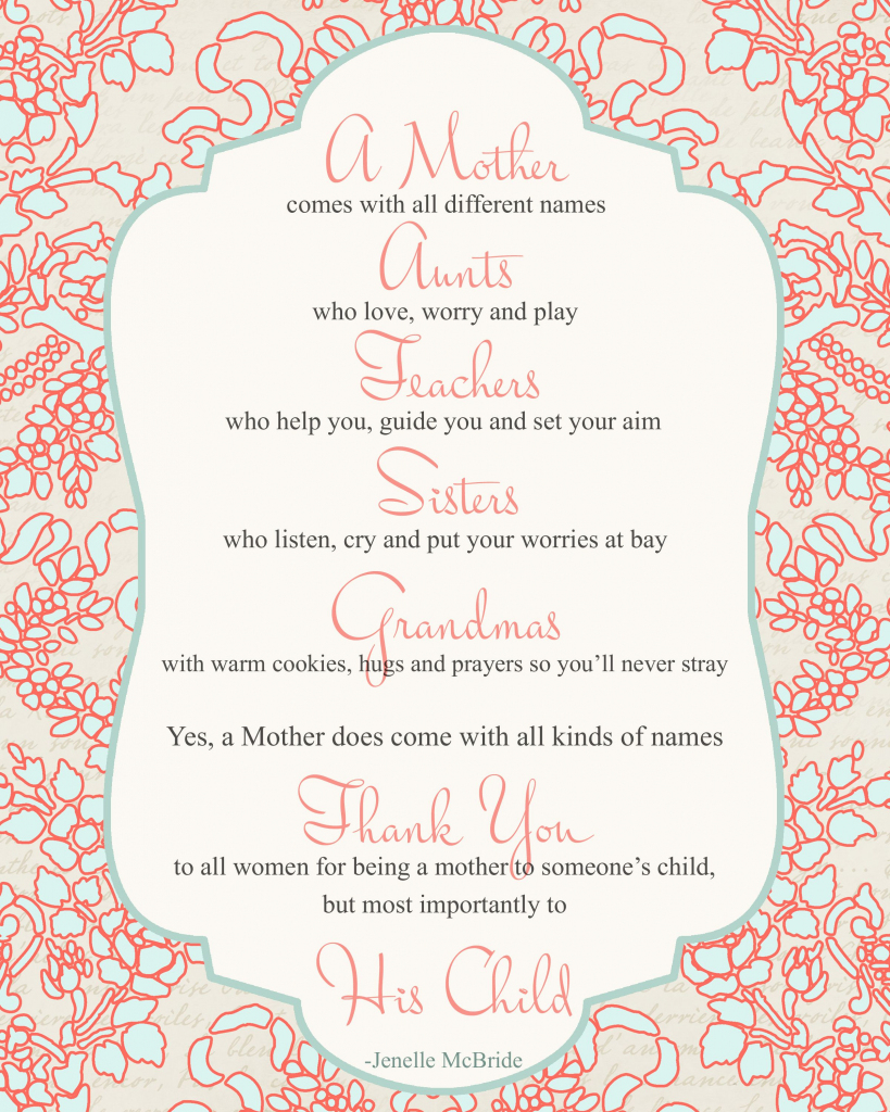 Mother's Day Poem For All Women {Printable} - Big Ideas Little Cents   Mothers Day Poems Cards Printable
