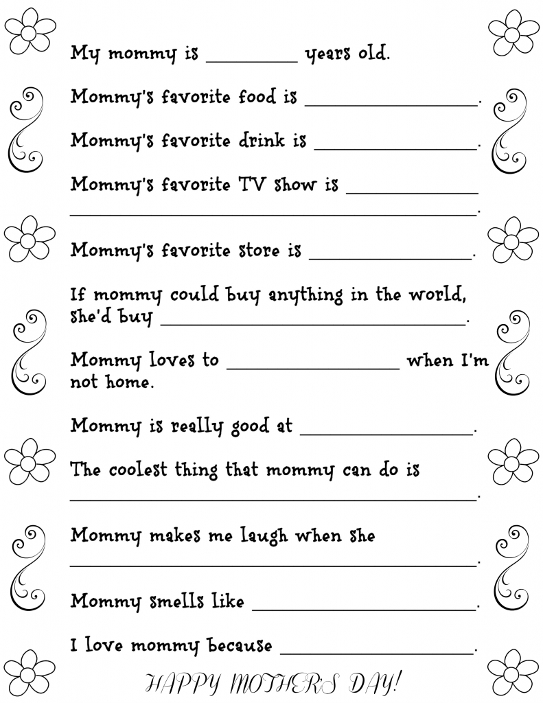 Mother's Day Questionnaire Free Printable   Fun Money Mom   Printable Mothers Day Cards For Preschoolers